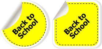 回到在标签标记的学校课文贴纸在白色设置了被隔绝 库存图片