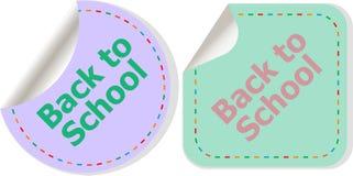 回到在标签标记的学校课文贴纸在白色,教育概念设置了被隔绝 库存照片