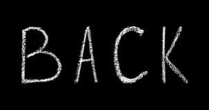 回到在黑背景动画隔绝的学校手写的白色白垩字法 向量例证