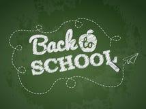 回到在黑板的学校课文 免版税图库摄影