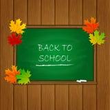 回到在绿色黑板的学校和槭树叶子 库存照片