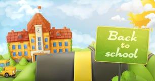 回到学校、路和标志 库存图片