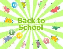 回到学校与抽象太阳光芒和花的邀请卡片,教育 免版税库存照片