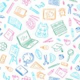 回到学校乱画元素样式或背景的传染媒介 研究和学习对象 书,笔记本,袋子,球 库存图片
