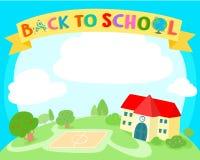 回到学校五颜六色的背景模板 免版税库存照片