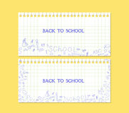 回到学校便条纸的横幅 免版税库存图片