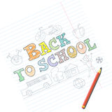 回到学校卡片的欢迎与在笔记本的孩子剪影 免版税库存照片
