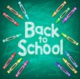 回到学校和学校项目在绿色黑板背景 免版税库存图片