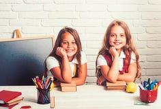 回到学校和家教 在教训的愉快的学校孩子在9月1日 女孩吃苹果在午休时间 图库摄影