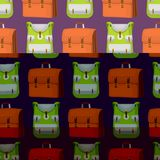 回到学校哄骗背包传染媒介例证工作时间教育学会行李无缝的样式的行李背包 库存照片