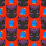 回到学校哄骗背包传染媒介例证工作时间教育学会行李无缝的样式的行李背包 免版税库存照片