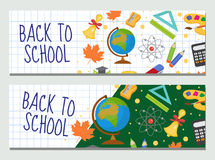回到学校套横幅,与空间的模板您的设计的文本的 教育汇集长的板,海报 免版税库存图片