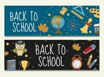 回到学校套横幅,与空间的模板您的设计的文本的 教育汇集长的板,海报 图库摄影