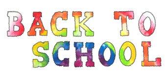 回到学校字体的水彩彩虹 免版税图库摄影