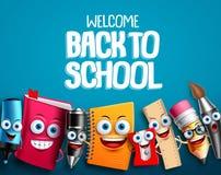 回到学校字符设置了传染媒介与五颜六色的滑稽的教育动画片的背景设计 皇族释放例证