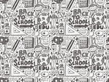 回到学校无缝的样式的乱画 免版税库存图片