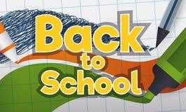 回到学校标志写与标志和笔在笔记本,传染媒介例证 库存图片