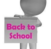 回到学校标志显示开学 免版税图库摄影