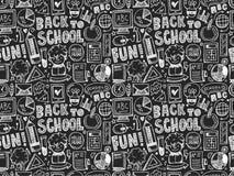 回到学校样式的无缝的乱画 免版税库存照片