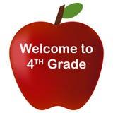 回到学校欢迎到第4个年级红色苹果 免版税库存图片