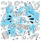回到学校滑稽的传染媒介例证 黑白学校用品和创造性的元素 乱画样式艺术品 Ea 图库摄影