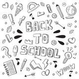 回到学校滑稽的传染媒介例证 黑白被隔绝的学校用品和创造性的元素 乱画样式艺术品 Ea 免版税图库摄影