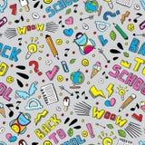 回到学校滑稽的传染媒介无缝的样式 黑白学校用品和创造性的元素 乱画样式艺术品 免版税库存图片