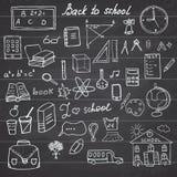 回到学校用品概略笔记本乱画设置与字法,在被排行的Sketc的手拉的传染媒介例证设计元素 库存例证