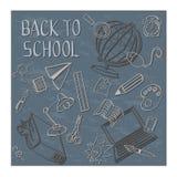 回到学校的乱画蓝色的 库存照片
