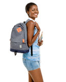 回到学校的成功的非裔美国人的学生妇女我 免版税库存照片
