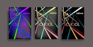 回到学校被设置的信息页 飞行物,杂志,海报,书套,横幅教育模板  格式 免版税库存照片