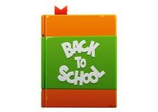 回到学校褐色和绿色的书 免版税库存照片