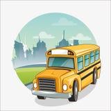 回到学校设计黄色公共汽车  免版税库存照片