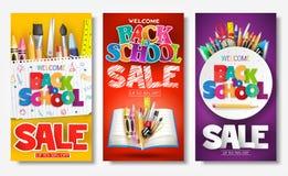 回到学校销售创造性的广告横幅和海报设置与五颜六色的标题 向量例证