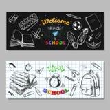 回到学校销售横幅,标签 向量手拉的例证 黑板字法 印刷术 与手凹道的剪影样式 库存照片