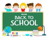 回到学校黑板例证的欢迎 免版税库存照片