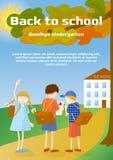 回到学校,再见幼儿园broshure模板或贺卡 t 免版税图库摄影