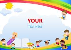 回到学校,孩子学校,教育概念,孩子去学校、模板宣传手册的,您的文本、孩子和框架,池氏 库存照片