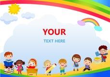 回到学校,孩子学校,教育概念,孩子去学校、模板宣传手册的,您的文本、孩子和框架,池氏 库存图片