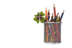 回到学校:在瓶子的色的铅笔 库存照片