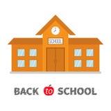 回到学校 与时钟和窗口的教学楼 城市建筑 动画片教育clipart汇集 库存例证