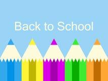 回到学校 五颜六色的铅笔,蓝色背景 学年的初期 向量 皇族释放例证