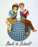 回到学校 小女小学生和男小学生有地球的 图库摄影