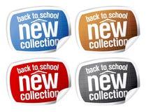 回到学校-新的收集贴纸。 库存照片