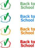 回到学校 设计元素,文本的讲话泡影在白色,教育 库存图片