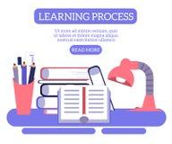 回到学生桌的学校概念与堆的书和档案馆项目 皇族释放例证