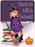 回到巫婆学校 小的巫婆和书 库存图片
