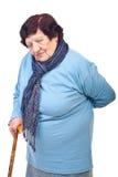 回到年长痛苦妇女 免版税图库摄影