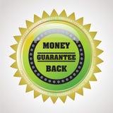 回到徽章保证标签货币 免版税图库摄影