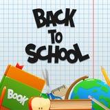 回到有书地球和铅笔的学校 免版税图库摄影